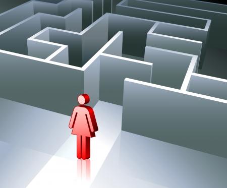 Original Vector Illustration: Business gender figure on maze background AI8 compatible