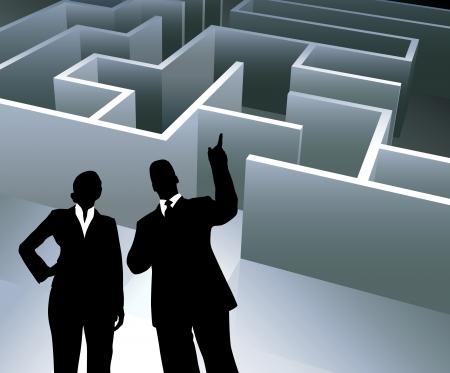 Original Vector Illustration: Business team on background with maze AI8 compatible Illusztráció