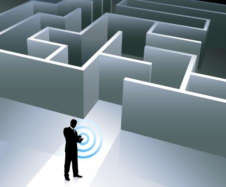 Original Vector Illustration: Businessman internet background with maze AI8 compatible Illusztráció