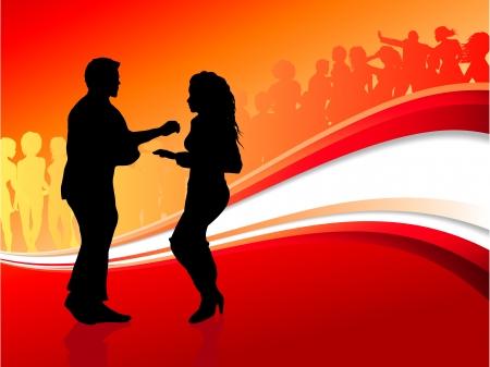 Oorspronkelijke vector illustratie: Sexy jonge paar dansen op zomer feest achtergrond AI8 compatibel