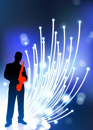 fibra ottica: Sassofono giocatore su fibra ottica sfondo Illustrazione vettoriale originale del giocatore di musica Ideale per Live Music Concept Vettoriali