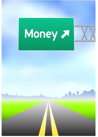 vertical divider: Money Highway Sign Original Vector Illustration
