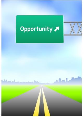 vertical dividers: Opportunity Highway Sign Original Vector Illustration Illustration
