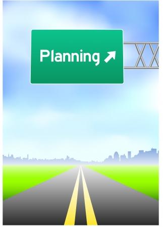 vertical divider: Planning Highway Sign Original Vector Illustration