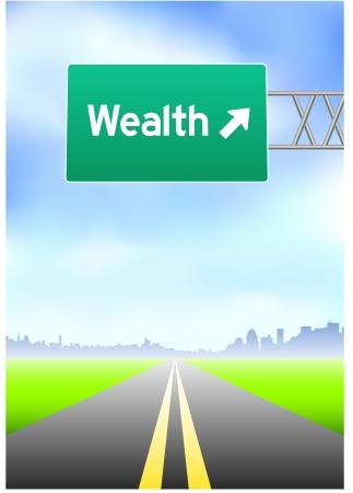Wealth Highway SignOriginal Vector Illustration Ilustrace