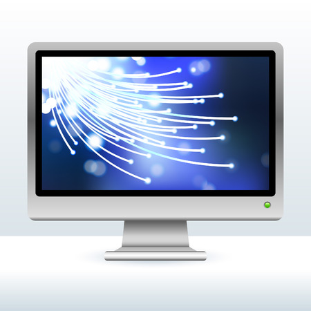 Original Vector Illustration: computer monitor with fiber optic internet background AI8 compatible