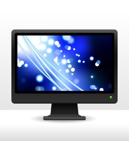fibra ottica: Originale illustrazione vettoriale: monitor di un computer con fibra ottica internet AI8 compatibile Vettoriali