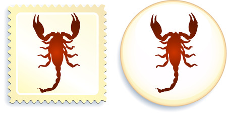 scorpion stamp and buttonoriginal vector illustration6 color versions included