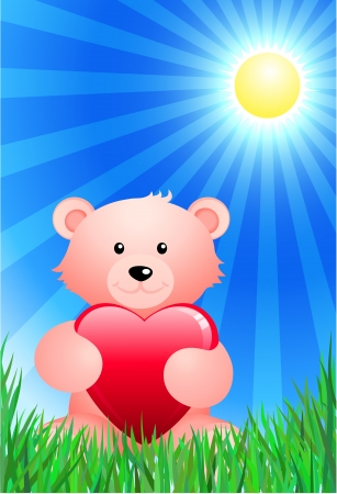 Original Vector Illustration: Teddy bear on sunny Summer background AI8 compatible