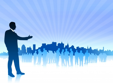 compatible: Original Vector Illustration:businessman with city on blue background AI8 compatible