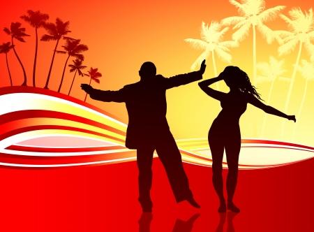 couple lit: Original Vector Illustration: sexy couple on tropical background AI8 compatible