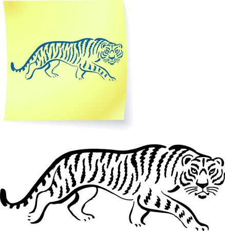 sumatran: Tiger drawing on post it notes original vector illustration 6 color versions included