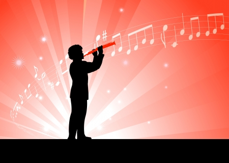 clarinet player: clarinet player on red background Original Vector Illustration  Music Player Ideal for Live Music Concept