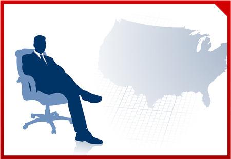 us map: Original Vector Illustration: Business executive on US map background AI8 compatible Illustration
