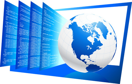 Original Vector Illustration: World wide web HTML code background