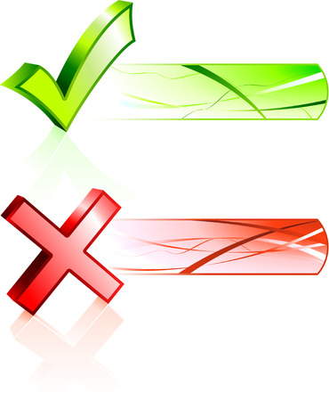 Check and X Mark with Banners Original Vector Illustration Banners