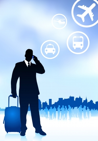 business traveler: Business Traveler with City Skyline Original Vector Illustration Traveling Around The World Ideal for business concepts