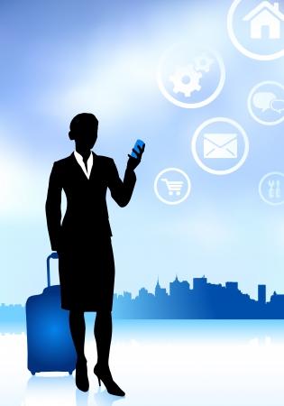 reiziger: Business Traveler met Horizon van de Stad Oorspronkelijke vector illustratie Reizen Around The World Ideaal voor zakelijke concepten