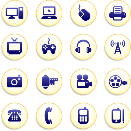 tv tower: Technology Buttons Original Vector Illustration Buttons Collection