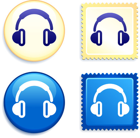 Headphones on Stamp and Button Original Vector Illustration Buttons Collection Çizim