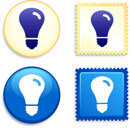 Light Bulb on Stamp and Button Original Vector Illustration Buttons Collection