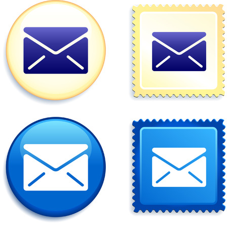Mail and Stamp and Button Original Vector Illustration Buttons Collection
