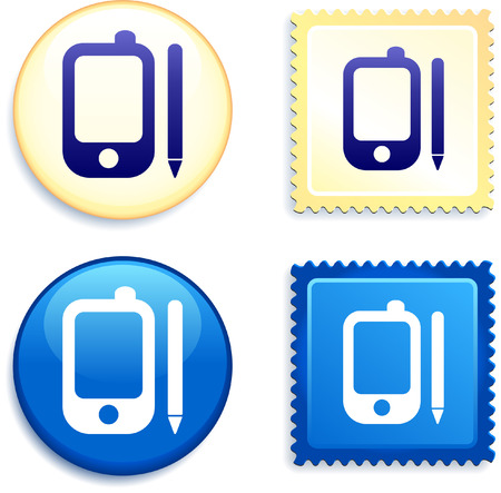 palm pilot: Organizer on Stamp and Button Original Vector Illustration Buttons Collection