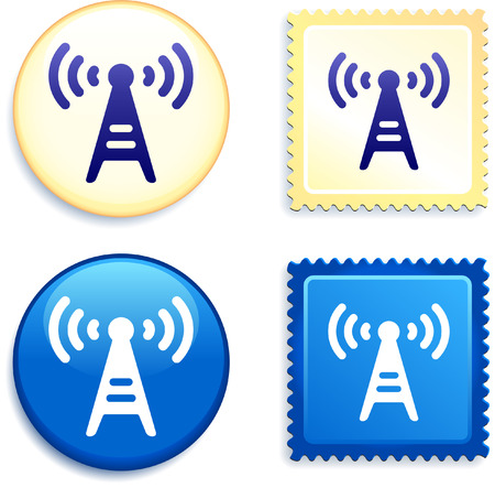 Radio Signal on Stamp and Button Original Vector Illustration Buttons Collection Çizim
