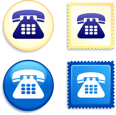 Telephone Stamp and Button Original Vector Illustration Buttons Collection