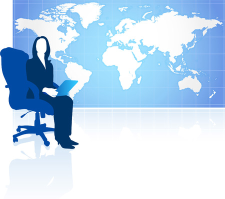 Businesswoman with world mapOriginal Vector IllustrationGlobes and Maps Ideal for Business Concepts