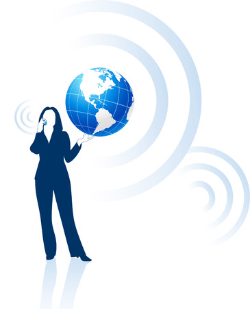 woman on phone: businesswoman global communication Original Vector Illustration Globes and Maps Ideal for Business Concepts  Illustration