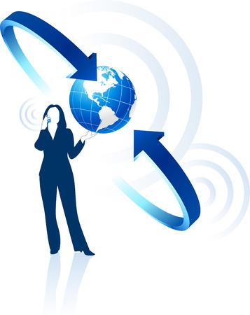 businesswoman global communication Original Vector Illustration Globes and Maps Ideal for Business Concepts  Ilustração