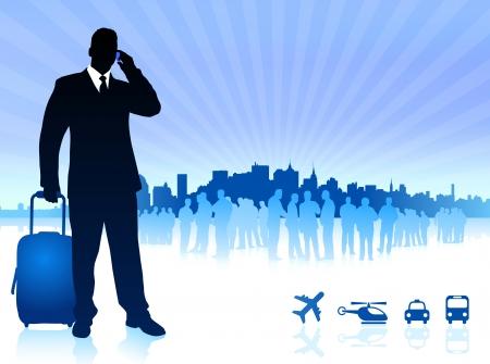 businessman traveler with city skyline Original Vector Illustration Traveling Around The World Ideal for business concepts Ilustração