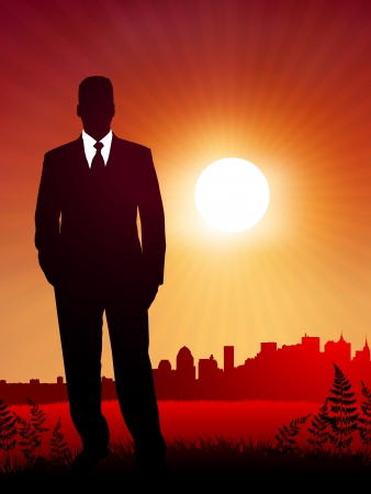 businessman on sunset backgroundOriginal Vector IllustrationBusiness People on Sunset Background Stock Vector - 22431259