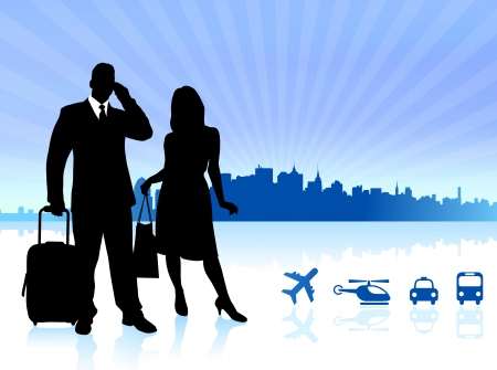 Couple traveling with City Skyline background Original Vector Illustration Traveling Around The World Ideal for business concepts Ilustração