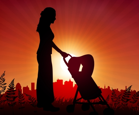 Mother and baby carriage on sunset background  Original Vector Illustration Mother with Sunset Vector