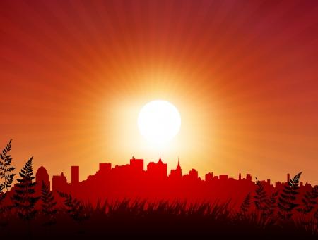 Sunset over city backgroundOriginal Vector Illustration Sunset background Ideal for Tropical Idea
