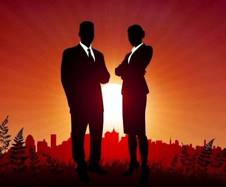 Businessman and Businesswoman on sunset background Original Vector Illustration Business People on Sunset Background Vector