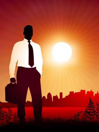 bookbag: Traveling Businessman on sunset background Original Vector Illustration Business People on Sunset Background