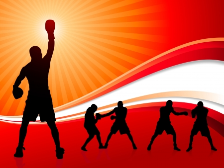 Boxing Set on Abstract Red Background Original Vector Illustration Boxer Ideal for Sports Concepts