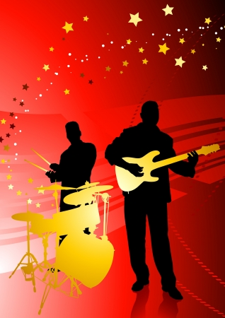 Music Band on Abstract Red Background Original Vector Illustration  Musical Band Ideal for Live Music Concept