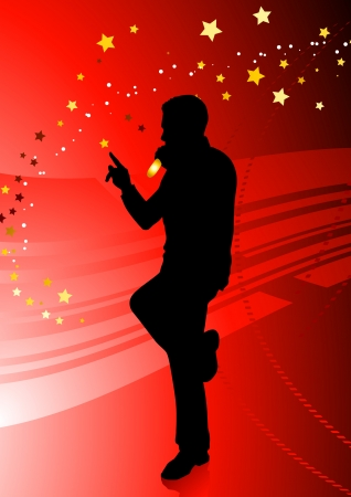 Singer on Red Background Original Vector Illustration  Music Player Ideal for Live Music Concept Vector