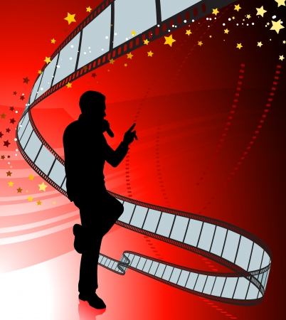 Singer on Red background with Film Reel Original Vector Illustration  Music Player Ideal for Live Music Concept Vector