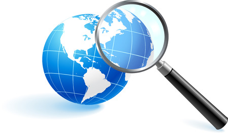 Globe under magnifying glassOriginal Vector IllustrationGlobes and Maps Ideal for Business Concepts 矢量图像
