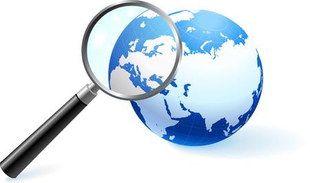 虫眼鏡の下の世界 オリジナルのベクター イラスト 地球儀と地図に最適のビジネス コンセプト