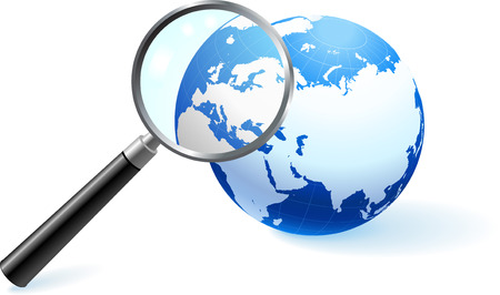 Globe under magnifying glass Original Vector Illustration Globes and Maps Ideal for Business Concepts  Çizim