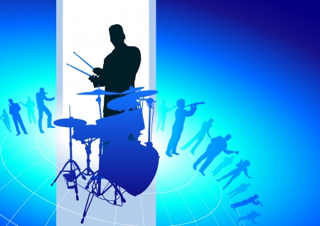 Drums Player with Musical Band Background Original Vector Illustration  Musical Band Ideal for Live Music Concept Vector