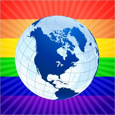 activism: Globo con el fondo del arco iris de los derechos homosexuales original de vector Globos y mapas ideal para conceptos de negocio Vectores