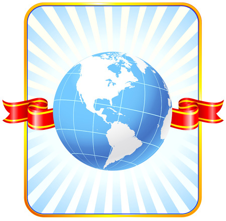 Globe with ribbon backgroundOriginal Vector IllustrationGlobes and Maps Ideal for Business Concepts