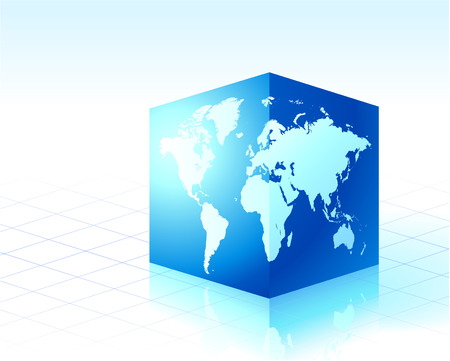 Square globe cube Original Vector Illustration Globes and Maps Ideal for Business Concepts  Illustration